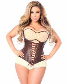 Top Drawer Faux Leather Steel Boned Corset