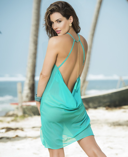 Tranquil Turquoise Sexy Halter Beach Dress
