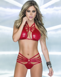 Wet Look Cage Bra Top & High Waist Panty Set