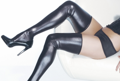 Wet Look Thigh High Stocking