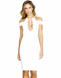 White Wonders Bodycon Mid Dress