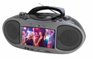 """Portable CD/DVD Player Boombox with 7"""" Widescreen LCD, AM/FM Radio, bluetooth, & MP3/WMA/MPEG4 Playback"""