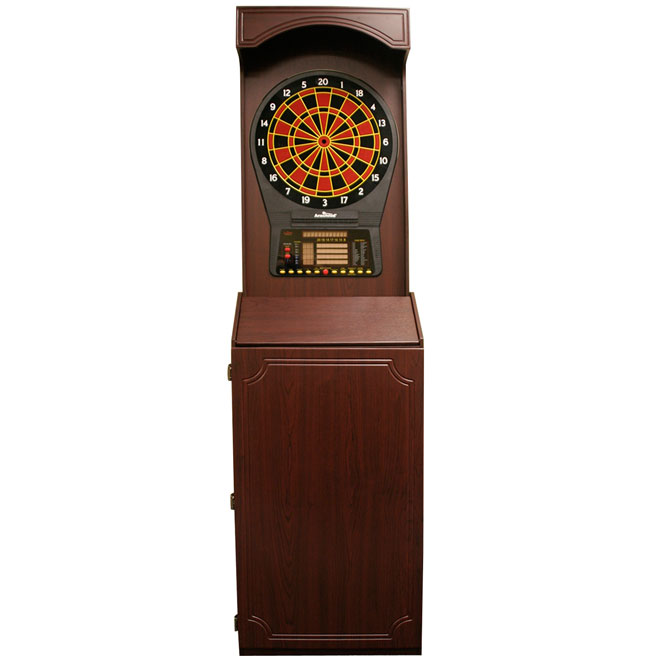 arachnid arcade style cabinet with cricket pro 800 electronic dart board