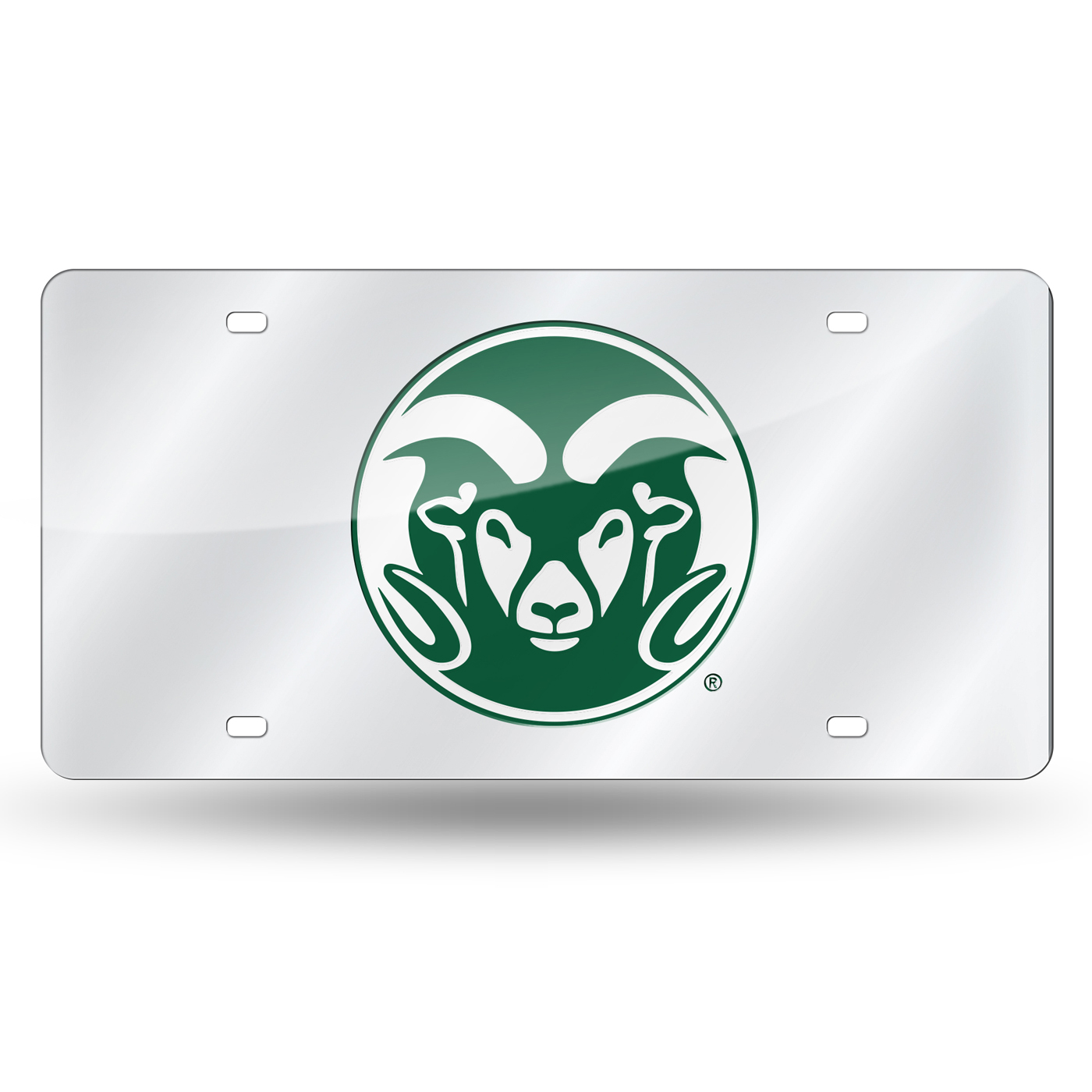 Colorado State Rams Silver Laser Cut License Plate