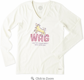 Life is Good Wag World Rocket Women's Crusher Vee Long Sleeve T-Shirt - Click to enlarge
