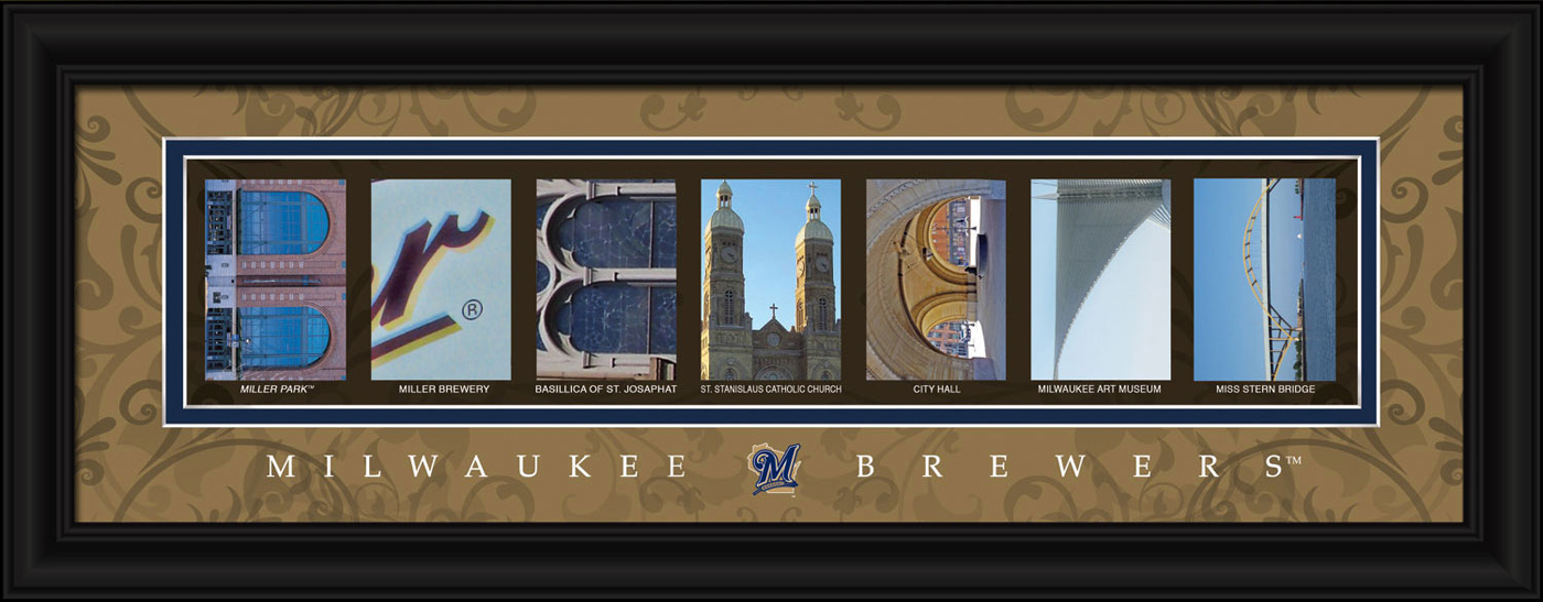 Milwaukee Brewers Framed Letter Art