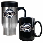 MLB 16 Oz Stainless Steel Travel Mug and Ceramic Coffee Mug Set