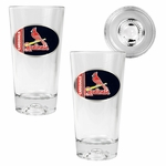 MLB Baseball Sculpted Bottom 16 Oz. Pint Glass 2-Piece Set