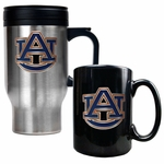 NCAA / College 16 Oz Stainless Steel Travel Mug and Ceramic Coffee Mug Set