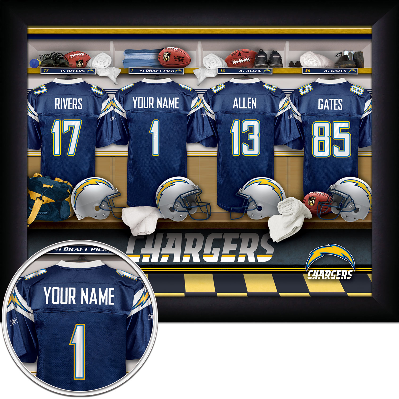 San Diego Chargers Front Office: San Diego Chargers NFL Personalized Locker Room 11 X 14