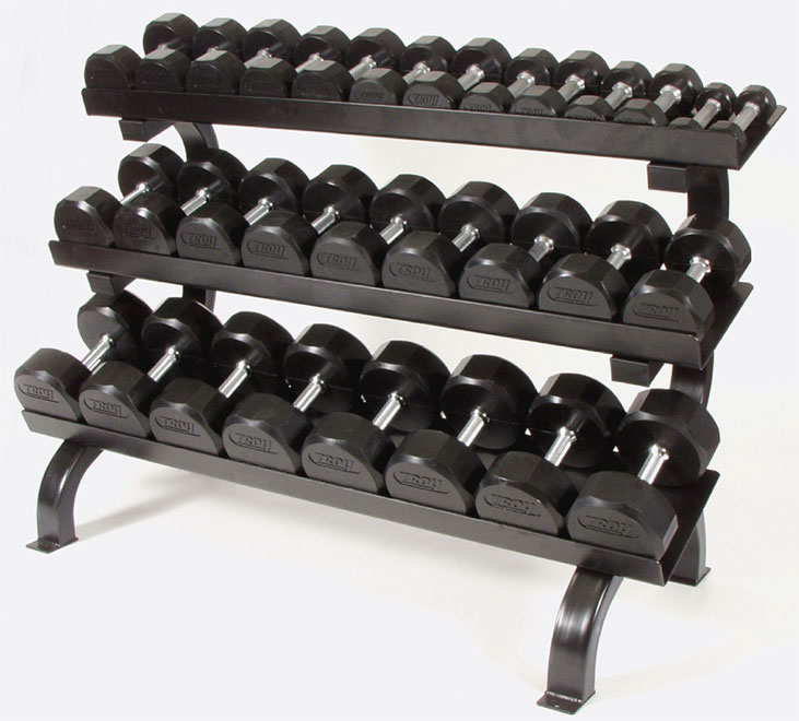 Rubber Dumbbell Set: Troy Barbell Rubber Encased Dumbbell With Rack Set