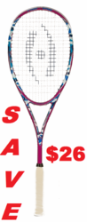 last few - Harrow Stealth Squash Racquet, Camo / Pink / Blue