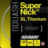 Ashaway SuperNick XL Titanium 17g Squash String, Silver with Red and Blue spiral, SET