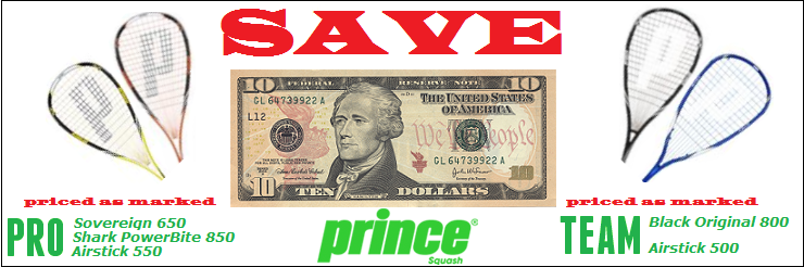 Save $10 on Prince Rackets