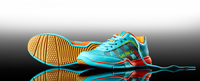 Salming Adder Junior Court Shoes, Turquoise / Shocking Orange