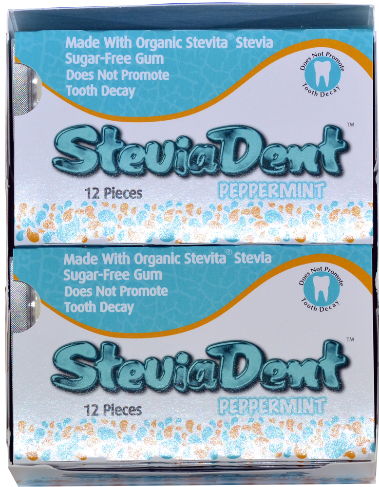 Stevia Dent Sugar-Free Natural Peppermint Gum - Case of 12