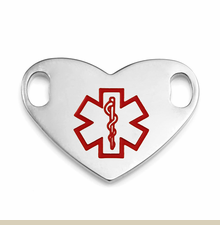 1 Inch Stainless Steel Heart Large Medical Symbol ID Tag for Custom Bracelets - Item CR1947