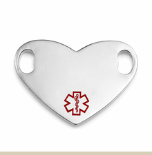 1 Inch Stainless Steel Heart Small Medical Symbol ID Tag for Custom Bracelets - Item CR1946