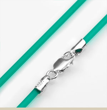 2mm Emerald Green Rubber Necklace with Sterling Silver Clasp 16 Inch - Item QG4052