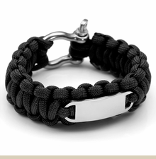 Black Paracord Survival Bracelet with Screw Clasp Medium - Large - Item TO1015C