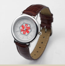 Genuine Brown Leather Medical Alert Watch for Ladies - Item PF1012