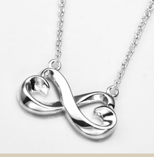 Sterling Silver Infinity Hearts Pendant on 16 Inch Cable Chain - Item DJP2021