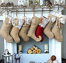 Burlap Lace Linen Personalized Christmas Stocking With Tags Vintace Country Chick Look