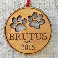 Engraved Pet Ornament With Paw Prints Pets Name and Date Laser Engrave