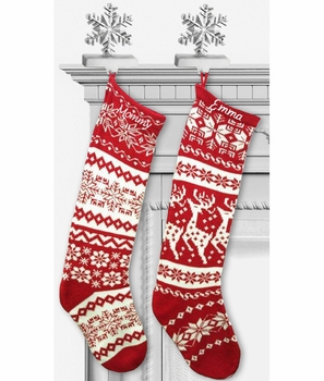 Knitted Christmas stockings red and white