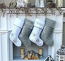 "Personalized Christmas Stockings - Silver White Velvet 20"" with ICE Cr"