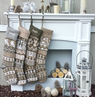 """Personalized Knit Christmas Stockings Large 28"""" White Grey Beige Modern"""