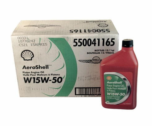 AeroShell Oil W 15W-50 Multigrade Aircraft Engine Oil - 12 Quart/Case