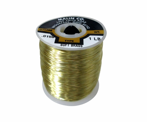 "Malin 26-0159-001S CDA 260 Soft Brass 0.0159"" #26 ASTM B134 Spec Breakaway Wire (1 lb Roll)"