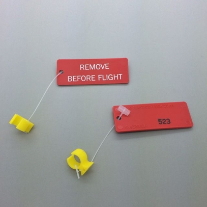 "Paco Plastics S4933959-523 FAA-PMA Yellow Circuit Breaker Lockout Ring with ""REMOVE BEFORE FLIGHT"" Tag"