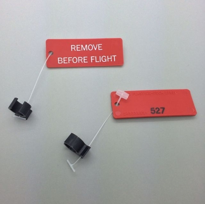 "Paco Plastics S4933959-527 FAA-PMA Black Circuit Breaker Lockout Ring with ""REMOVE BEFORE FLIGHT"" Tag"