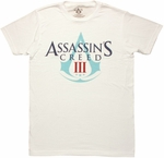 Assassins Creed 3 Logo White T Shirt Sheer