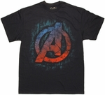 Avengers Beat Up Wall Logo T Shirt