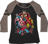 Avengers Comic Quad 3/4 Raglan Juniors T-Shirt