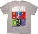 Avengers Feature Blocks Gray T Shirt