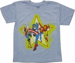 Avengers Four Run Star Blue Juvenile T Shirt