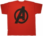 Avengers Logo Black on Red Urban T Shirt