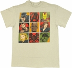 Avengers Movie Face Grid T Shirt