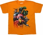 Avengers Shield Bolts Gold Youth T Shirt