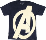Avengers Side Logo Navy T Shirt Sheer