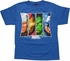 Avengers Trapezoid Faces Blue Youth T Shirt