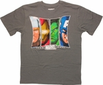 Avengers Trapezoid Faces Gray Youth T Shirt