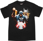 Avengers Trio Over Shield T Shirt