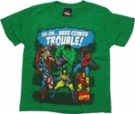 Avengers Uh-Oh Trouble Green Juvenile T Shirt