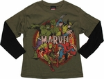 Avengers Vintage Circle Long Sleeve Juvenile T Shirt