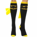 Batman Black Yellow Caped Knee High Socks